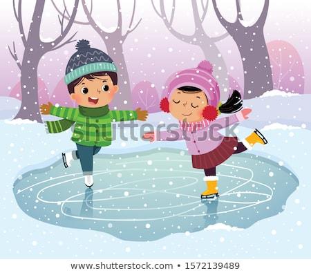 happy friends on outdoor skating rink Stock photo © dolgachov