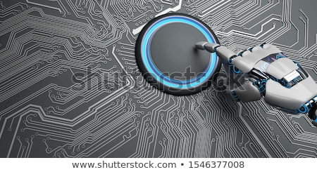 Robot Hand Start Button Microchip Stock photo © limbi007
