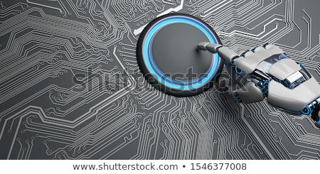 robot · strony · początku · przycisk · mikroczip · humanoid - zdjęcia stock © limbi007