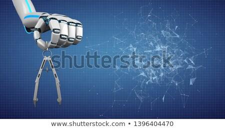 Robô mão bússola azul rede Foto stock © limbi007