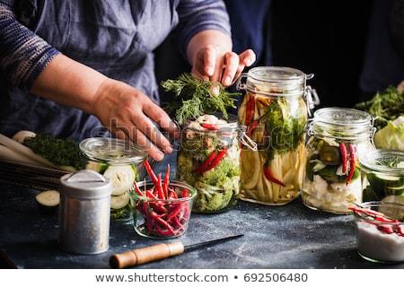 jar · groenten · glas · specerijen · kruiden · tabel - stockfoto © melnyk
