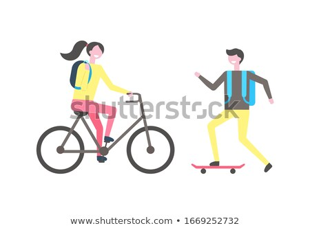 Student Skating on Skateboard Woman Riding on Bike Stock photo © robuart