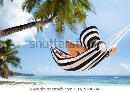 Vrouw hangmat strand hoed boom Stockfoto © AndreyPopov
