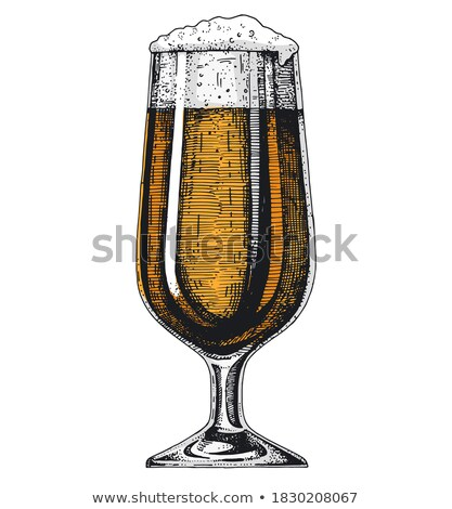 Hand Drawn Glass On Leg With Foam Beer Vector Stock photo © pikepicture
