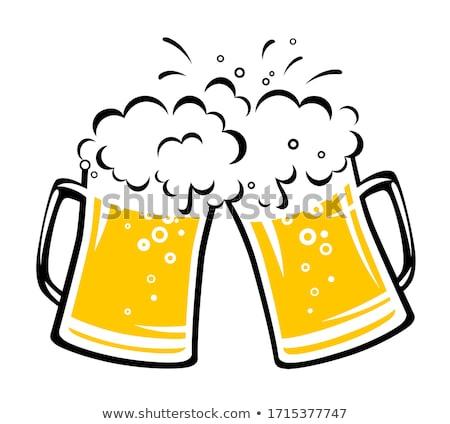 Kézzel rajzolt bögre buborék világos sör vektor tele Stock fotó © pikepicture