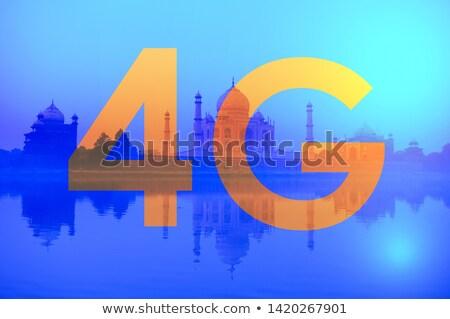 4g texto Taj Mahal Índia negócio céu Foto stock © szefei