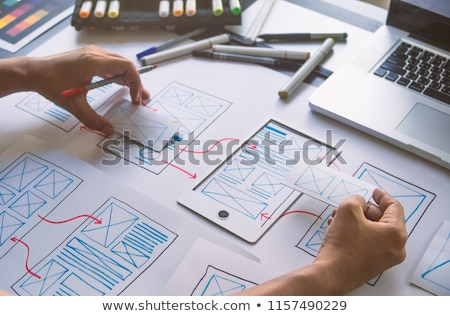 ui designer working on user interface at office Stock photo © dolgachov