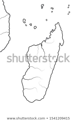 World Map of MADAGASCAR. Geographic chart with oceanic coastline, atolls, isles and islands. Stock photo © Glasaigh