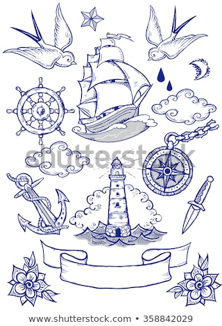 anchor from boat or ship tattoo drawing stock photo © krisdog