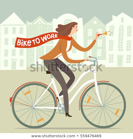 elegant lady on a old bicycle in vintage costume vector illustration cityscape stock photo © nikodzhi