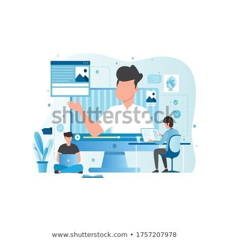 on-line · educação · webinar · teia · vetor - foto stock © robuart