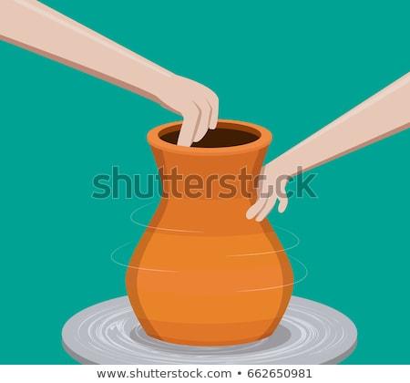 Kilátás művész agyag cserépedények pörgés kerék Stock fotó © boggy