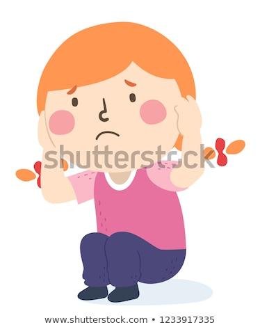Gyerek lány borító fülek félő illusztráció Stock fotó © lenm