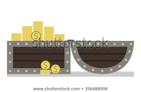 kincsesláda · érmék · fából · készült · arany · üzlet · fém - stock fotó © pikepicture