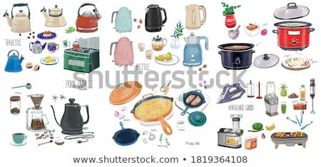 Pan nierdzewny gotowania sprzęt kuchenny vintage wektora Zdjęcia stock © pikepicture