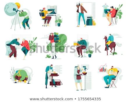 Handmade Hobby, Man and Woman Art Education Vector Stock photo © robuart