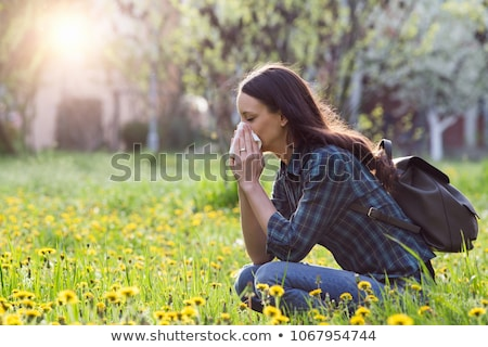 allergia · lány · allergiás · pitypang · virág · gyermek - stock fotó © jsnover
