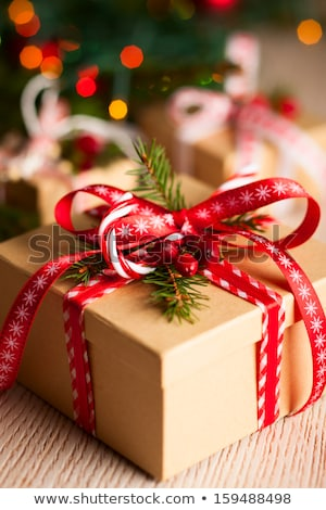 Karácsony ajándékdobozok gyertyák fenyőfa ág fedett Stock fotó © karandaev