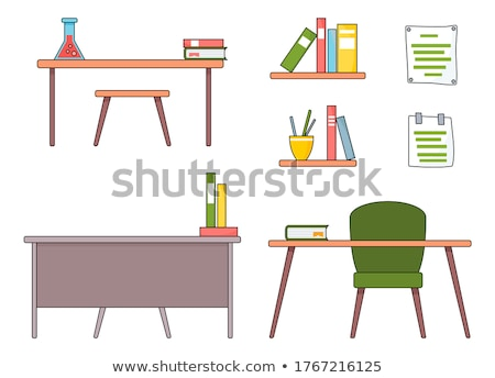 School Workplace Desk with Chair Book and Notebook Stock photo © robuart