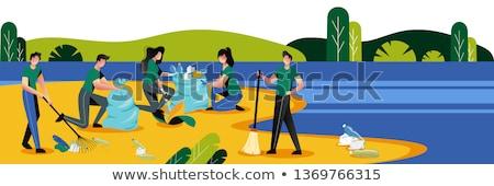 Vrijwilligers schoonmaken milieu park vector vrijwilligerswerk Stockfoto © robuart