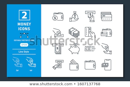 Stroke money icons atm cash withdrawal vector image. Stock photo © Pixel_hunter