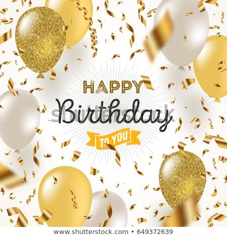Felicitatie kaart gouden ballonnen helling Stockfoto © adamson