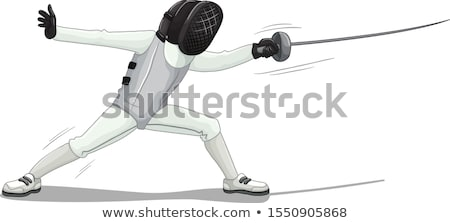 Fencing character isolated on white Stock photo © bluering