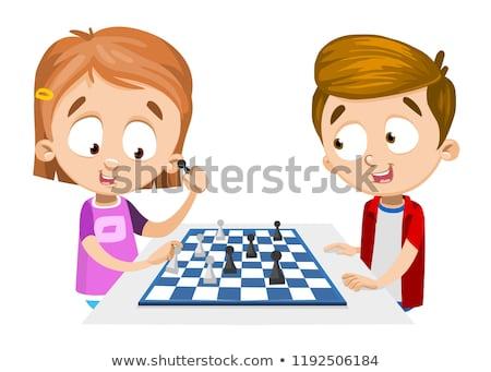 Kulüp oynayan çocuklar satranç tahtası oyunları vektör Stok fotoğraf © robuart