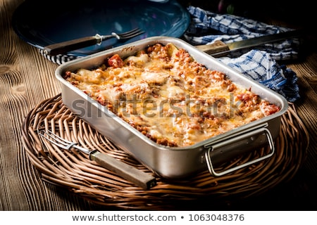 Edény lasagne fekete sajt tészta hús Stock fotó © Alex9500