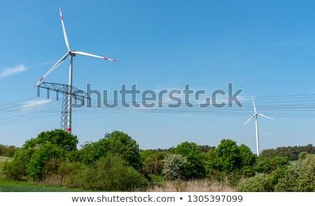 Szélturbinák vonalak bozót égbolt farm ipari Stock fotó © elxeneize