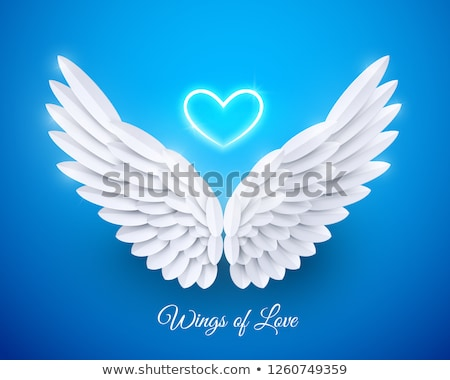 Szív angyalszárnyak 3D renderelt kép illusztráció rózsaszín Stock fotó © djmilic