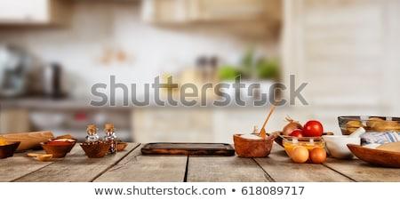 Wałkiem stół kuchenny kamień tabeli domowej roboty Zdjęcia stock © karandaev