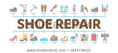 Shoe Repair Equipment Minimal Infographic Banner Vector Stock photo © pikepicture