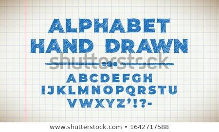 Cute Hand gezeichnet Seite alten Schönschreibheft blau Stock foto © tashatuvango