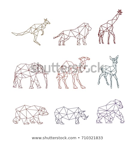 Rhinoceros geometric line style seamless vector pattern. Stock photo © yopixart