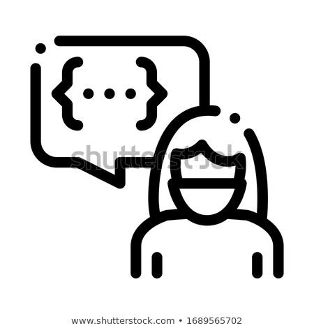 Gespräch Frau Symbol Vektor Gliederung Illustration Stock foto © pikepicture