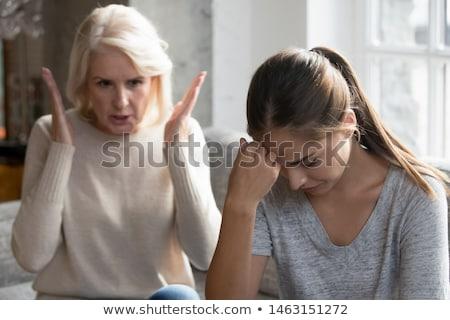 Lánygyermek anya nagymama veszekedik otthon család Stock fotó © dolgachov