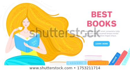 Vector background with redheaded girl with pile of books and cup of tea. Bookworm. Woman sitting and Stock photo © user_10144511