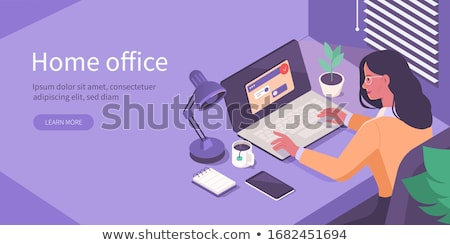Employee in Office, Work with Computer Vector Stock photo © robuart