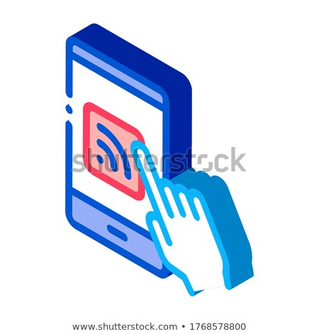 Hand Push Wifi Button isometric icon vector illustration Stock photo © pikepicture