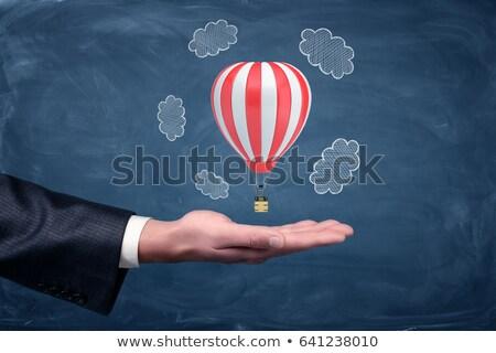 Foto stock: Empresário · giz · balão · foto · maduro