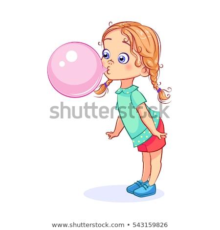 schoolgirl bubble gum Stock photo © smithore