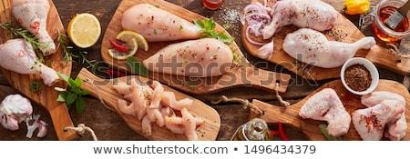 Baromfi egyrészes ruha fehér konyha étterem hús Stock fotó © glorcza