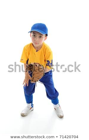 Child baseball softball player crouching with mitt Stock photo © lovleah