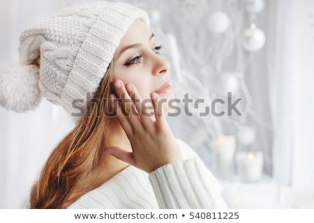 зима · красоту · выстрел · улыбающаяся · женщина · полный · жизнеспособность - Сток-фото © stryjek