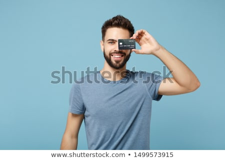 小さな · 男性 · クレジットカード · ノートパソコン · コンピュータ · インターネット - ストックフォト © photography33