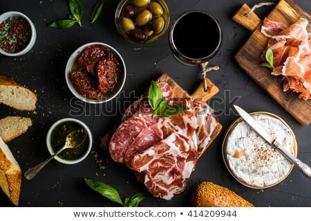 olajbogyók · szeletek · sajt · üveg · fehér · étel - stock fotó © yura_fx