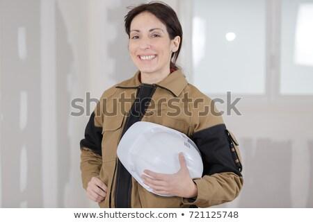 Női villanyszerelő pózol üzlet arc boldog Stock fotó © photography33