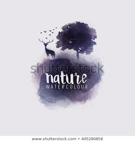 Feito à mão aquarela árvore abstrato Foto stock © Galyna