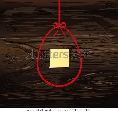 Notepaper with red bow on wooden background Stock photo © happydancing
